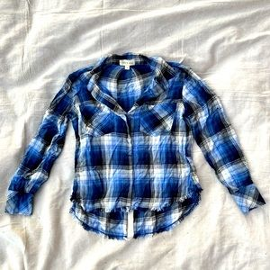 Cloth and Stone Blue Fringe Button Down Flannel